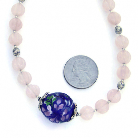 Pink rose quartz necklace for her.