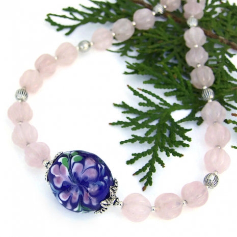 mothers day blue and pink lampwork and gemstone necklace