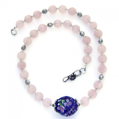 cobalt blue and pink necklace for women