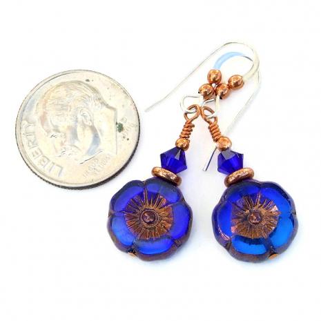 flower jewelry cobalt blue indigo blue gift for her
