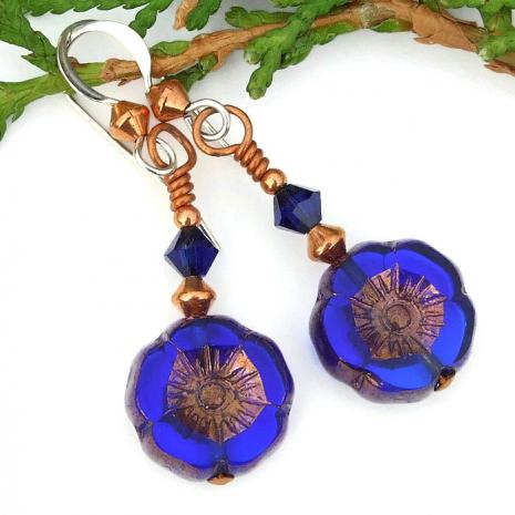handmade blue flower earrings gift for women