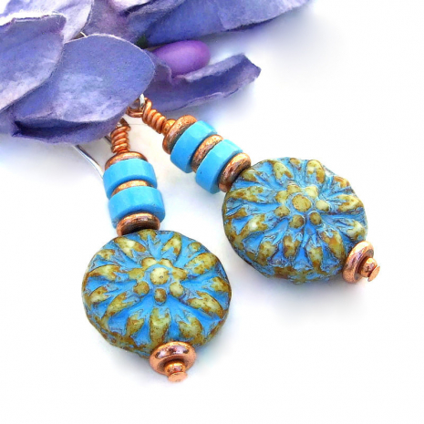 flower jewelry with turquoise magnesite earrings gift