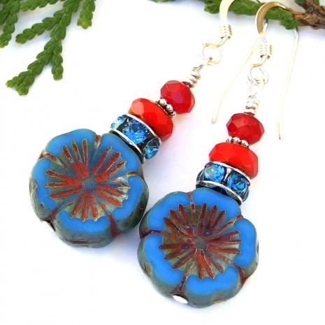 flower lover earrings blue and red