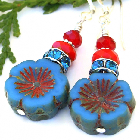 flower lover jewelry blue and red