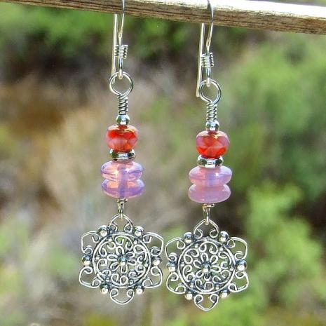 flower mandala earrings gift for women