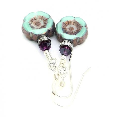 Czech pansy flower earrings.