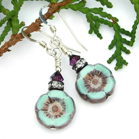 Unique flower earrings for her.