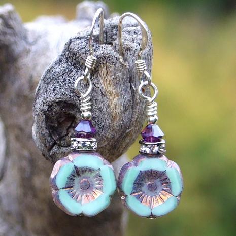Minty green and purple flower earrings.