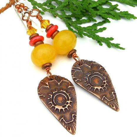 flower sun autumn fall earrings copal copper crystals