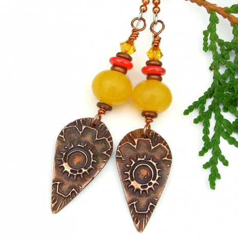 flower sun autumn fall jewelry copal copper crystals