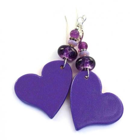 purple polymer clay handmade heart earrings