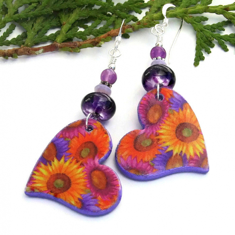 one of a kind hearts and flowers with lampwork and amethyst