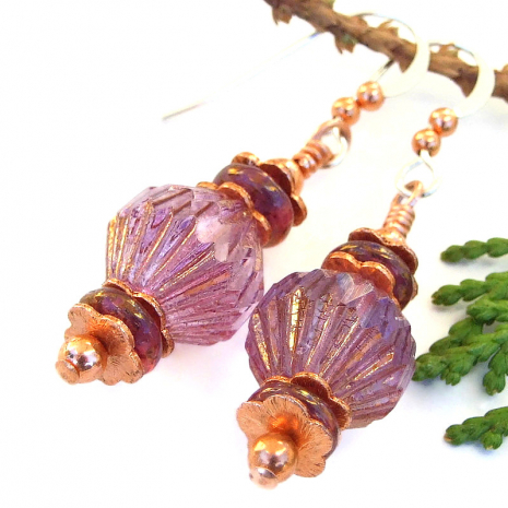 fluted pink purple handmade fashion jewelry for women