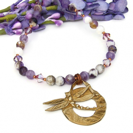 follow your dream dragonfly pendnat necklace with chevron amethyst