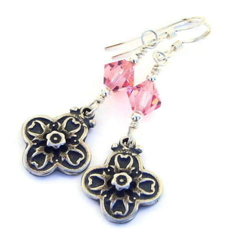 Floral cross earrings - handmade jewelry for her.