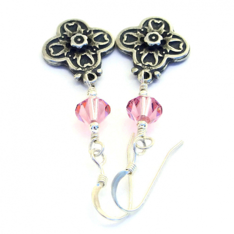 Cross earrings with pink Swarovski crystals.