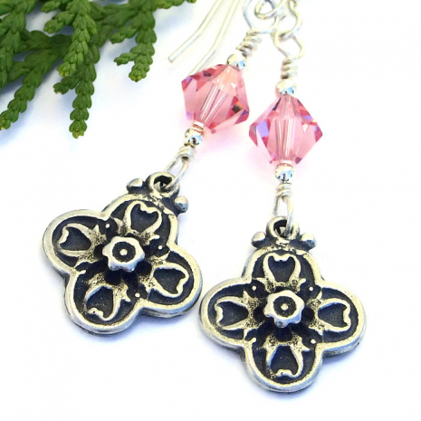 Handmade flower cross earrings.