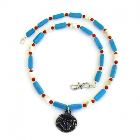 "Unique ""Forever Friends"" horse pendant necklace with gemstones."