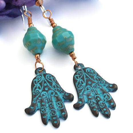 One of a kind hamsa / evil eye and turquoise Czech glass handmade jewelry