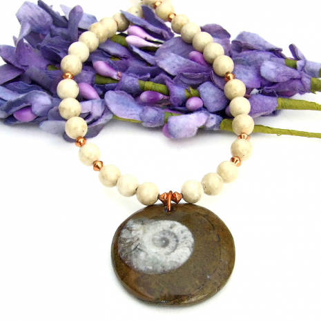 fossil ammonite jewelry with riverstone and copper
