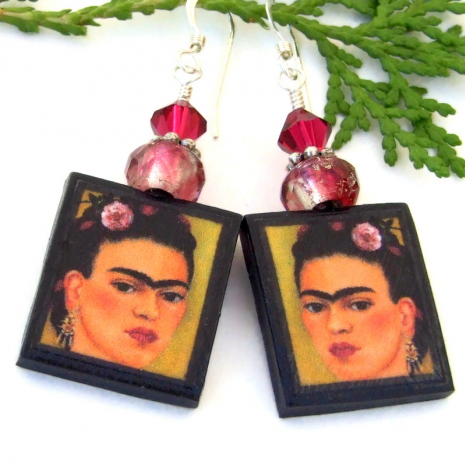 frida kahlo art earrings with crystals