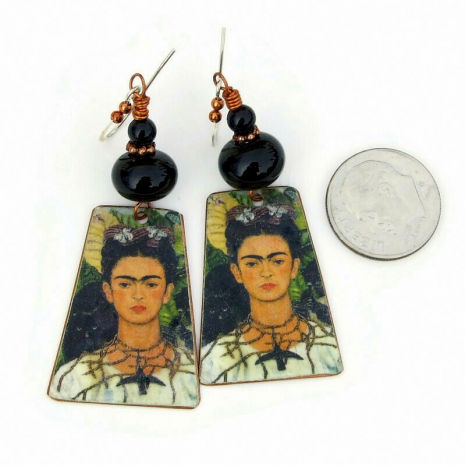 frida kahlo cat monkey earrings gift for her