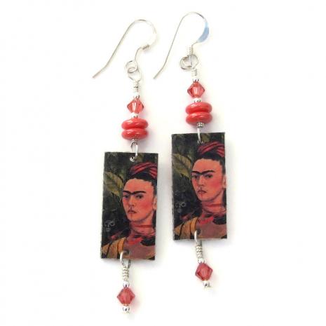 frida kahlo dangle earrings gift for women