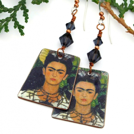 frida kahlo dangle earrings with Swarovski crystals