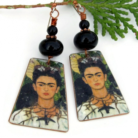 frida kahlo earrings monkey black cat hummingbird necklace