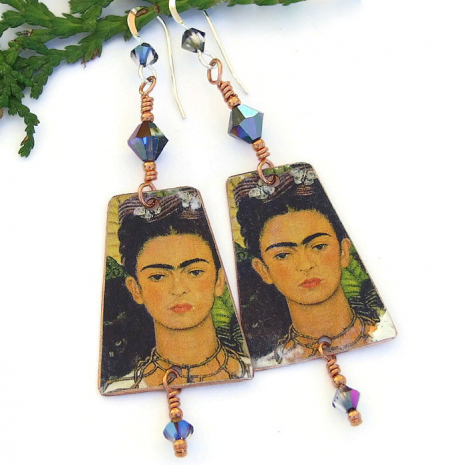 frida kahlo earrings with black cat and butterflies