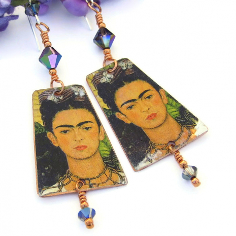 frida kahlo jewelry with black cat and butterflies