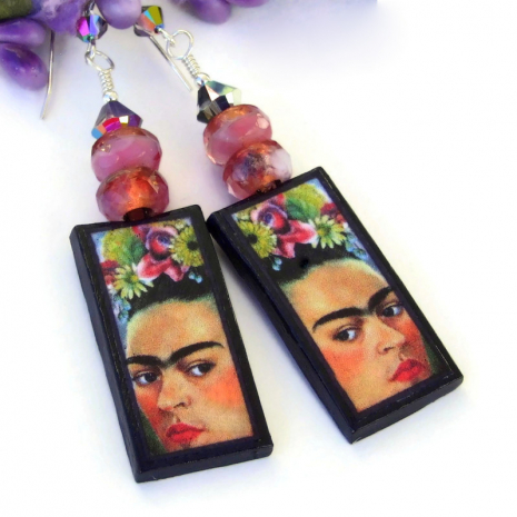 frida kahlo self portrait earrings