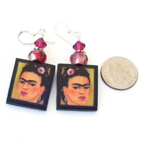 frida kahlo self portrait earrings gift for her