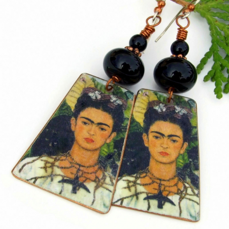 frida kahlo self portrait earrings with lampwork black onyx