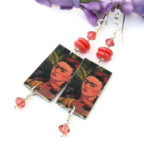 frida kahlo with monkey dangle jewelry