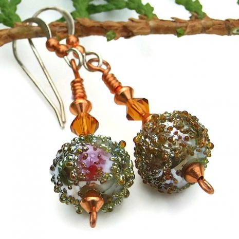 Sugared moss green lampwork handmade earrings with topaz Swarovskis