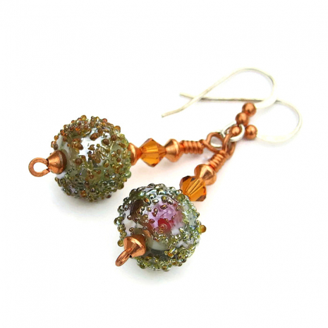 One of a kind sugared lampwork glass bead earrings with Swarovskis and copper