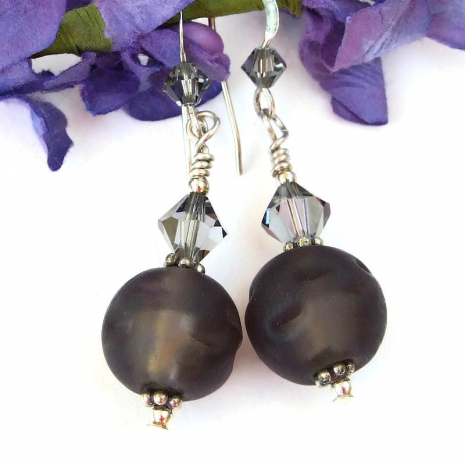 frosted brown dangle earrings swarovski crystals