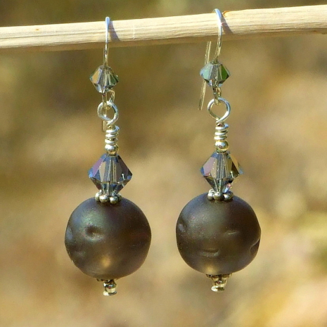 frosted matte brown glass earrings gift for women