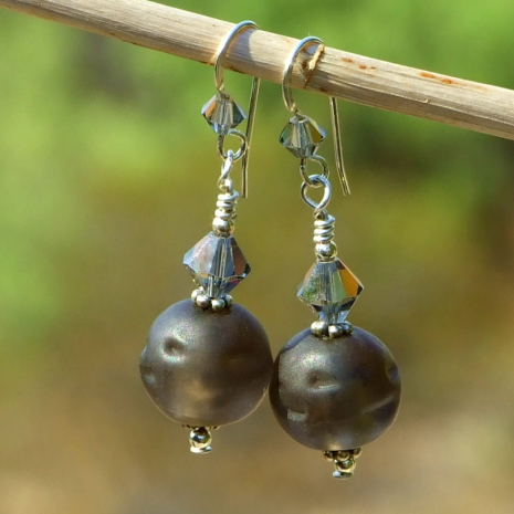 frosted matte brown glass jewelry gift for women