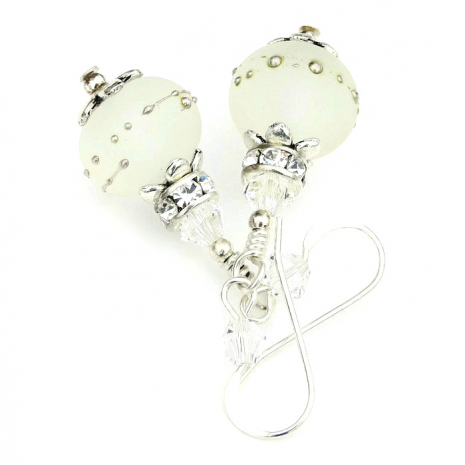 frosted white lampwork bride jewelry for a wedding