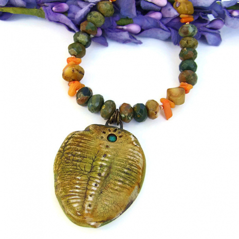Handmade trilobite necklace jewelry gift.