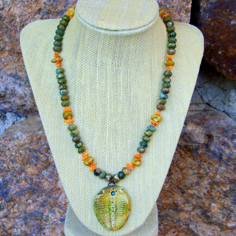 trilobite and gemstone necklace gift for women