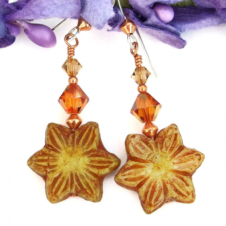 One of a kind flower earrings for women.