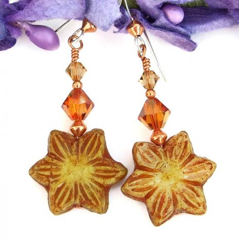 One of a kind flower earrings for women.
