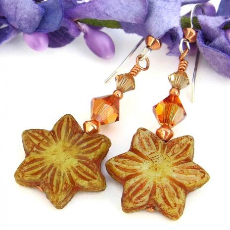 Sunny yellow flower earrings with Swarovski crystals- handmade jewelry.