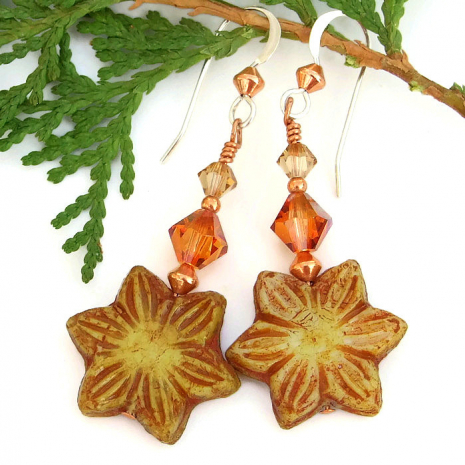 Star flower handmade earrings