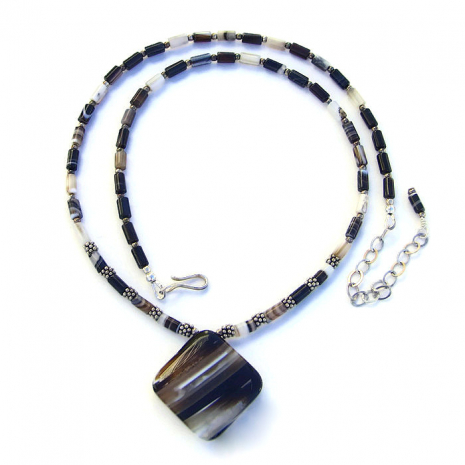 Artisan handmade banded black agate and sterling necklace.