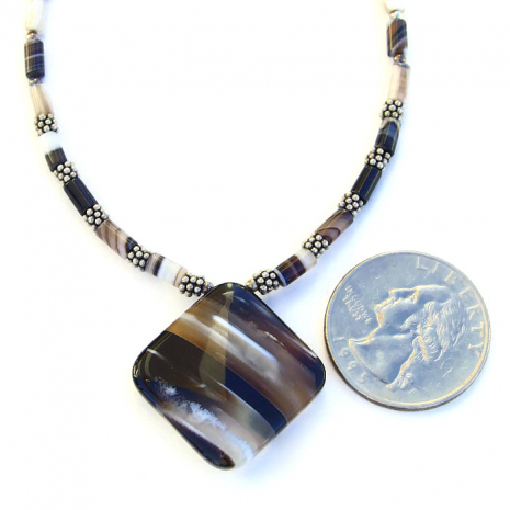 Artisan handmade banded black agate and sterling pendant necklace.