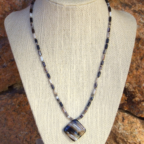 Unique banded black agate pendant necklace - beautiful gemstone jewelry.